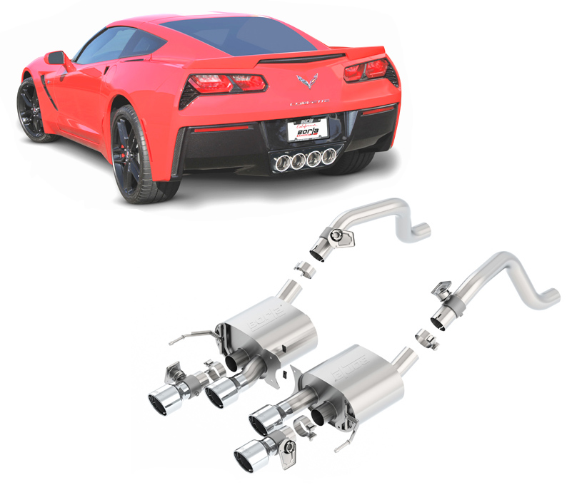 BORLA Sportauspuff / US Rear Section (ESD) 'S-Type' für: CHEVROLET Corvette C7 6.2 / 2014- | mit Endrohren Typ 19 - rund 108 mm / für Modelle mit Auspuff-Klappen (Option NPP) - ohne CH-Gutachten