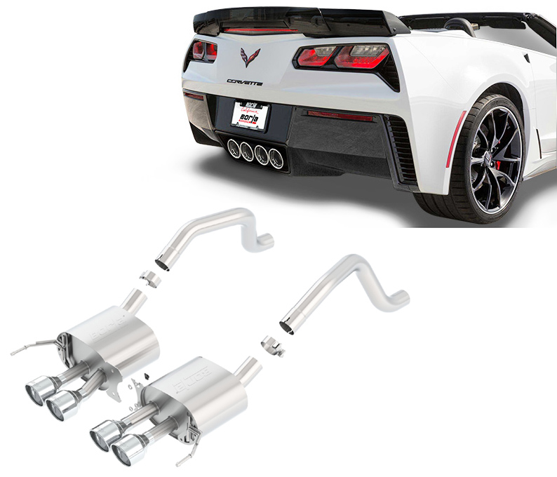 BORLA Sportauspuff / US Rear Section (ESD) 'S-Type' für: CHEVROLET Corvette C7 Z06 (2015-17) + Gransport (2017-18)  | mit Endrohren Typ 47 - rund 108 mm / für Modelle ohne NPP Auspuff-Klappen / ohne CH-Gutachten